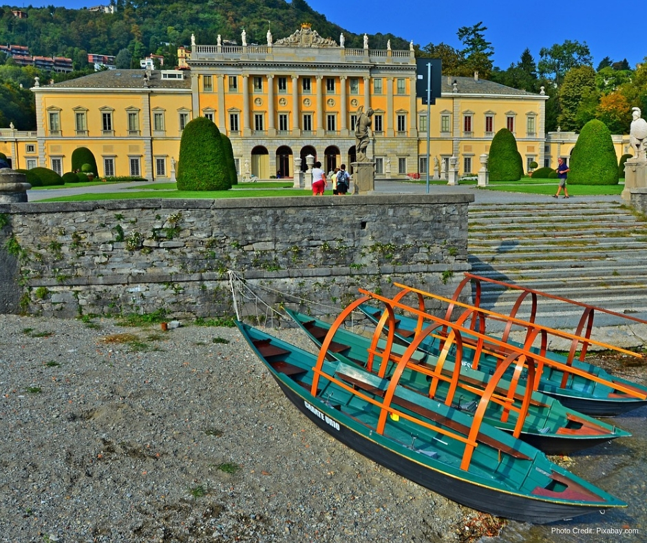 Fisherman's boats in front of a Villa on Lake Como